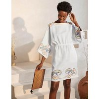 Briana Embroidered Linen Dress White Women Boden, White