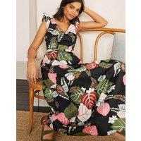 Andrea Frill Sleeve Maxi Dress Black, Holiday Tropic Women Boden, Black, Holiday Tropic