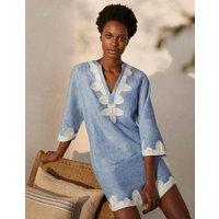 Bella Embroidered Linen Dress Grey Blue Chambray/Ivory Women Boden, Grey Blue Chambray/Ivory