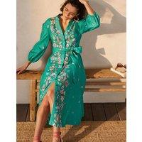 Addie Linen Midi Dress Leafy Green, Placement Print Women Boden, Leafy Green, Placement Print