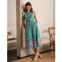 Embroidered Cotton Midi Dress Green, Kaleidoscopic Floral Women Boden, Green, Kaleidoscopic Floral