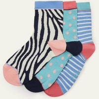 3 Pack Ankle Socks Blue Multi Women Boden, Blue Multi