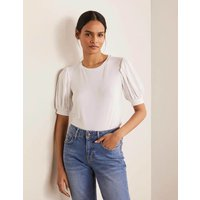 Holly Puff Sleeve Jersey Top White Boden, White
