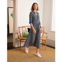 Caroline Jersey Shirt Dress Navy/ Ivory Women Boden, Navy/ Ivory