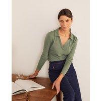The Cotton Collar Notch Tee Alder Women Boden, Alder