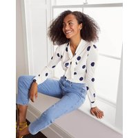 Gabriella Jersey Top Ivory, Regular Dot Women Boden, Ivory, Regular Dot