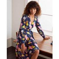 Edie Jersey Wrap Dress Navy, Floral Press Women Boden, Navy, Floral Press