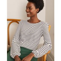Supersoft Long Sleeve Tee Ivory/ Navy Women Boden, Ivory/ Navy