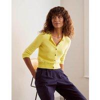 Cashmere Crop Cardigan Yellow Women Boden, Yellow