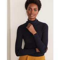 Frill Cotton Roll Neck Jumper Navy Women Boden, Navy