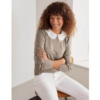 Harewood Woven Collar Jumper Brown Women Boden, Brown