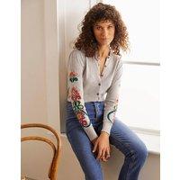 Somerset Embroidered Cardigan Silver Melange Women Boden, Silver Melange