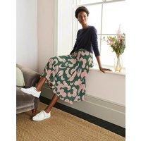 Louisa Pleated Midi Skirt Palm Leaf, Dream Cloud Women Boden, Palm Leaf, Dream Cloud
