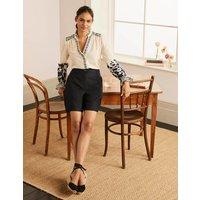 Cornwall Linen Shorts Black Women Boden, Black