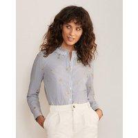Caitlin Smocked Shirt Ivory and Summit Stripe Women Boden, Ivory and Summit Stripe