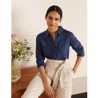 Linen Shirt Navy Women Boden, Navy