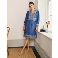 Dakota Embroidered Linen Dress Mid Blue Delave Women Boden, Mid Blue Delave