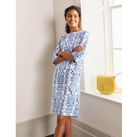 Laurie Linen Dress Ivory, Pacific Stamp Women Boden, Ivory, Pacific Stamp