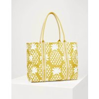 Olivia Large Canvas Tote Chartreuse Pineapple Geo Women Boden, Chartreuse Pineapple Geo