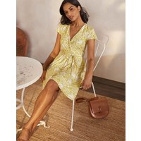 Evangeline Jersey Wrap Dress Chartreuse, Tropical Charm Women Boden, Chartreuse, Tropical Charm
