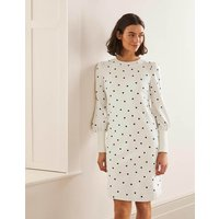 Romona Sweatshirt Dress Ivory and Navy, Polka Women Boden, Ivory and Navy, Polka