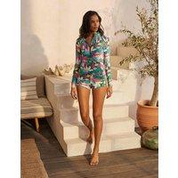 Piping Swim Shorts Palm Leaf, Tropical Flora Women Boden, Palm Leaf, Tropical Flora