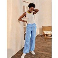 Eldon Linen Trousers Morrocan Blue Tonic Women Boden, Morrocan Blue Tonic