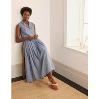 Lydia Linen Pleated Skirt Chambray Women Boden, Chambray