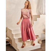 Lydia Linen Pleated Skirt Dusty Red Women Boden, Dusty Red