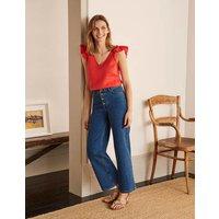 Horn Button Wide Leg Jeans Mid Vintage Denim Women Boden, Mid Vintage Denim
