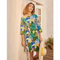 Laurie Linen Dress Plum Blossom, Tropical Flora Women Boden, Plum Blossom, Tropical Flora