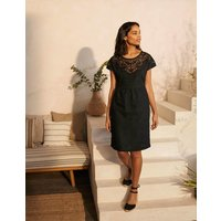 Fleur Embroidered Linen Dress Black Women Boden, Black