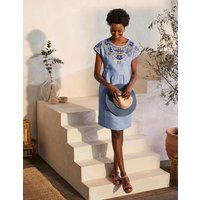 Fleur Embroidered Linen Dress Grey Blue Chambray Women Boden, Grey Blue Chambray