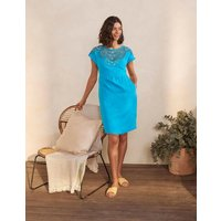 Fleur Embroidered Linen Dress Blue Lagoon Women Boden, Blue Lagoon
