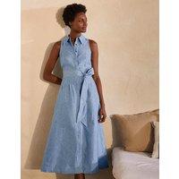 Kate Linen Shirt Dress Chambray Boden, Chambray