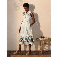 Kate Linen Shirt Dress Ivory with multi embroidery Women Boden, Ivory with multi embroidery