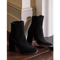 Block Heel Ankle Boots Black Suede Women Boden, Black Suede