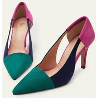 Cut Out Suede Court Shoes Deep Forest/Navy/Pop Pansy Women B
