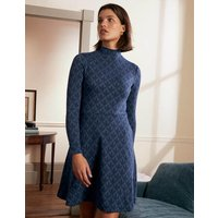 High Neck Jacquard Dress Night Blue, Petal Geo Boden, Night Blue, Petal Geo