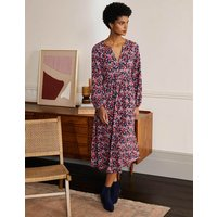 Willow Midi Jersey Dress Cherry Red, Abstract Sprig Women Boden, Cherry Red, Abstract Sprig