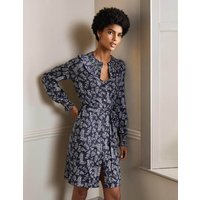 Smocked Detail Jersey Dress French Navy, Leafy Sprig Women Boden, French Navy, Leafy Sprig
