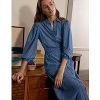 Puff Sleeve Shirt Dress Mid Vintage Denim Women Boden, Mid Vintage Denim