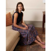 Cotton Sateen Skirt French Navy, Floral Paisley Women Boden, French Navy, Floral Paisley