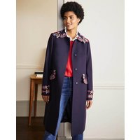 Floral Embroidered Coat Navy Embroidered Women Boden, Navy Embroidered
