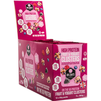 Image of High Protein Clusters 12x30g-Fruit and Yoghurt Bodybuilding Warehouse Dr Zaks
