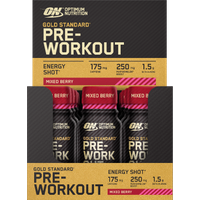 Image of ON Gold Standard Pre-Workout ENERGY SHOT 12 x 60ml - Mixed Berry Supplements Optimum Nutrition