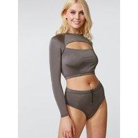 Activewear High-waisted Bikini Briefs - Pewter