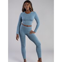 Boux Avenue Boux Sport ribbed seamless long sleeve crop top - Steel Blue - L