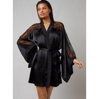 Boux Avenue Bouxtique by Boux Avenue Elodie silk robe - Black - XS