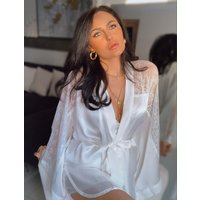 Boux Avenue Bouxtique by Boux Avenue Elodie silk robe - Ivory - S